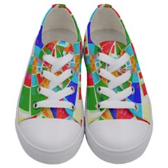 Circle Background Kids  Low Top Canvas Sneakers