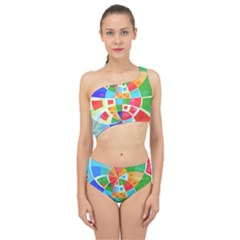 Circle Background Spliced Up Two Piece Swimsuit