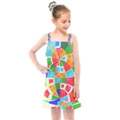 Circle Background Kids  Overall Dress by AnjaniArt