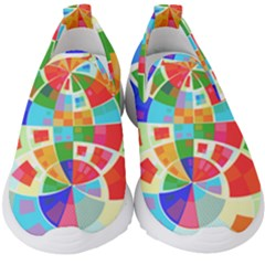 Circle Background Kids  Slip On Sneakers by AnjaniArt
