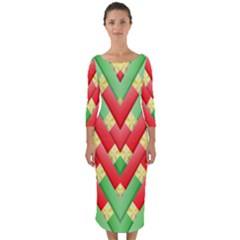 Christmas Geometric Quarter Sleeve Midi Bodycon Dress by AnjaniArt