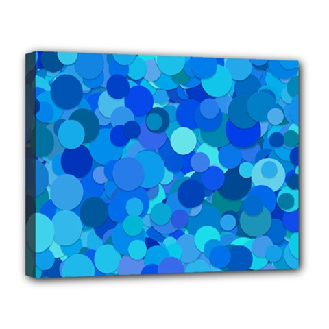 Blue Light Cyan Background Dot Canvas 14  X 11  (stretched) by AnjaniArt