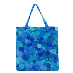 Blue Light Cyan Background Dot Grocery Tote Bag