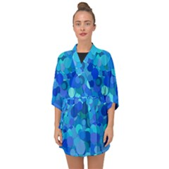 Blue Light Cyan Background Dot Half Sleeve Chiffon Kimono