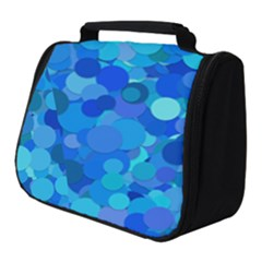Blue Light Cyan Background Dot Full Print Travel Pouch (small)