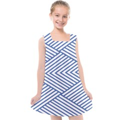 Directional Lines Stripes Movement Kids  Cross Back Dress by AnjaniArt