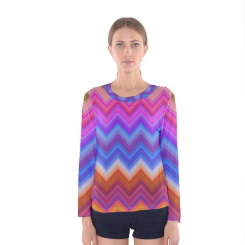 Chevron Zigzag Background Women s Long Sleeve Tee by AnjaniArt