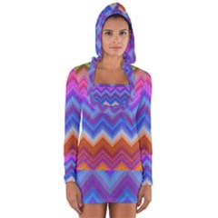 Chevron Zigzag Background Long Sleeve Hooded T-shirt by AnjaniArt
