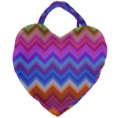 Chevron Zigzag Background Giant Heart Shaped Tote
