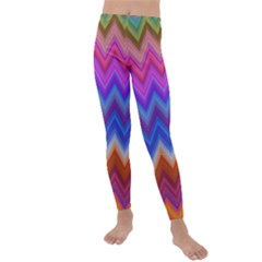 Chevron Zigzag Background Kids  Lightweight Velour Leggings by AnjaniArt