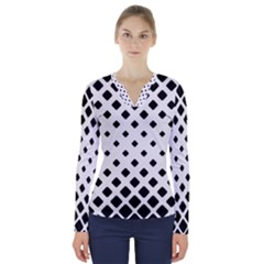 Garden Halftone Paving V Neck Long Sleeve Top