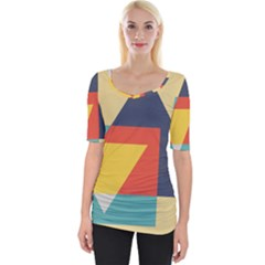Form Abstract Modern Color Wide Neckline Tee by AnjaniArt