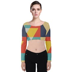 Form Abstract Modern Color Velvet Long Sleeve Crop Top