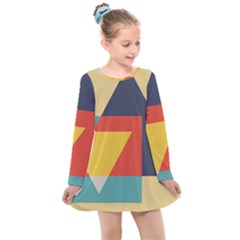 Form Abstract Modern Color Kids  Long Sleeve Dress
