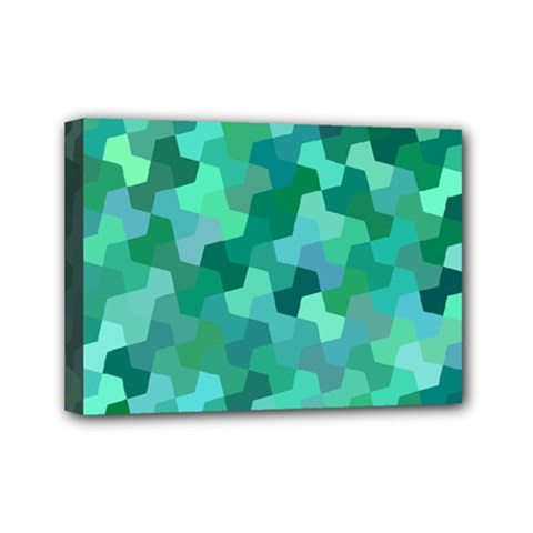 Green Mosaic Geometric Background Mini Canvas 7  X 5  (stretched) by AnjaniArt