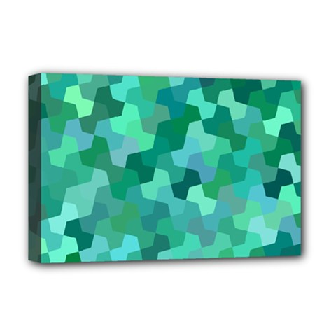Green Mosaic Geometric Background Deluxe Canvas 18  X 12  (stretched) by AnjaniArt