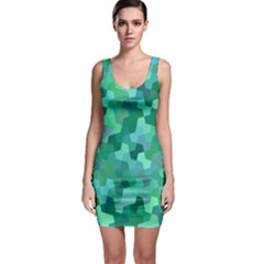 Green Mosaic Geometric Background Bodycon Dress by AnjaniArt
