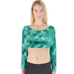 Green Mosaic Geometric Background Long Sleeve Crop Top by AnjaniArt