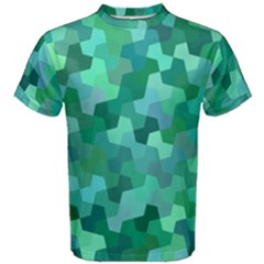 Green Mosaic Geometric Background Men s Cotton Tee by AnjaniArt