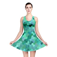 Green Mosaic Geometric Background Reversible Skater Dress by AnjaniArt