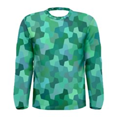 Green Mosaic Geometric Background Men s Long Sleeve Tee by AnjaniArt