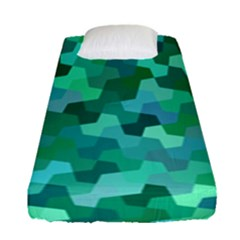 Green Mosaic Geometric Background Fitted Sheet (single Size) by AnjaniArt