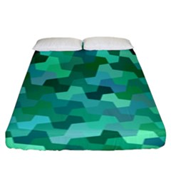 Green Mosaic Geometric Background Fitted Sheet (king Size) by AnjaniArt