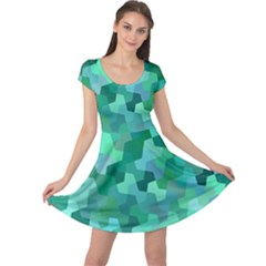 Green Mosaic Geometric Background Cap Sleeve Dress