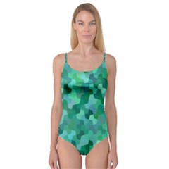 Green Mosaic Geometric Background Camisole Leotard
