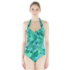 Green Mosaic Geometric Background Halter Swimsuit by AnjaniArt