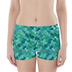 Green Mosaic Geometric Background Boyleg Bikini Wrap Bottoms by AnjaniArt