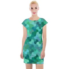 Green Mosaic Geometric Background Cap Sleeve Bodycon Dress by AnjaniArt