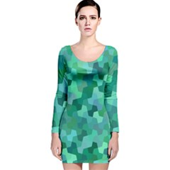 Green Mosaic Geometric Background Long Sleeve Velvet Bodycon Dress by AnjaniArt