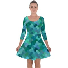 Green Mosaic Geometric Background Quarter Sleeve Skater Dress