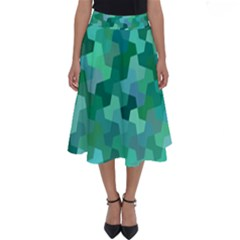 Green Mosaic Geometric Background Perfect Length Midi Skirt