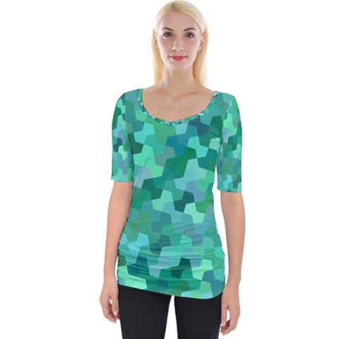 Green Mosaic Geometric Background Wide Neckline Tee by AnjaniArt