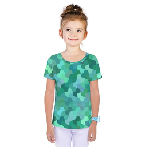 Green Mosaic Geometric Background Kids  One Piece Tee by AnjaniArt