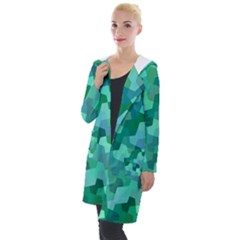 Green Mosaic Geometric Background Hooded Pocket Cardigan by AnjaniArt