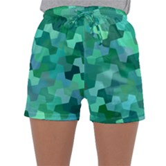 Green Mosaic Geometric Background Sleepwear Shorts by AnjaniArt