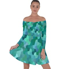 Green Mosaic Geometric Background Off Shoulder Skater Dress by AnjaniArt