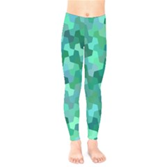 Green Mosaic Geometric Background Kids  Legging by AnjaniArt