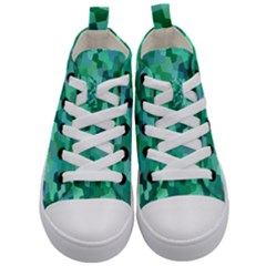 Green Mosaic Geometric Background Kids  Mid Top Canvas Sneakers