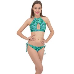 Green Mosaic Geometric Background Cross Front Halter Bikini Set by AnjaniArt