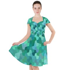 Green Mosaic Geometric Background Cap Sleeve Midi Dress by AnjaniArt