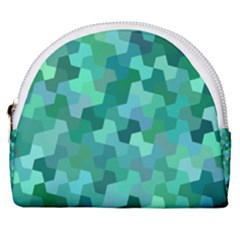 Green Mosaic Geometric Background Horseshoe Style Canvas Pouch by AnjaniArt
