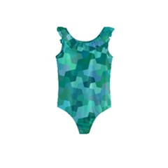 Green Mosaic Geometric Background Kids  Frill Swimsuit by AnjaniArt