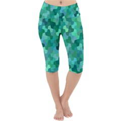Green Mosaic Geometric Background Lightweight Velour Cropped Yoga Leggings by AnjaniArt