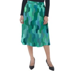 Green Mosaic Geometric Background Classic Velour Midi Skirt  by AnjaniArt