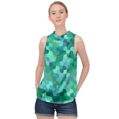 Green Mosaic Geometric Background High Neck Satin Top by AnjaniArt