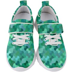 Green Mosaic Geometric Background Kids  Velcro Strap Shoes by AnjaniArt